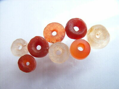 8 Ancient Roman Carnelian, Rock Crystal Beads Romans VERY RARE!  TOP !!