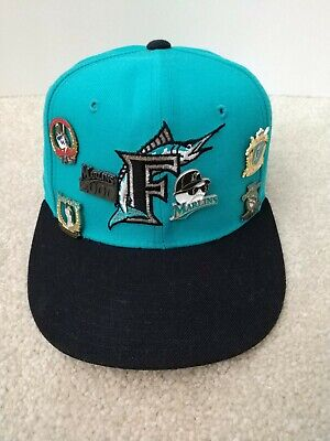 release date 8bbb9 28fbb Vintage Florida Miami Marlins New Era Baseball Cap Size 6 7 8 plus Pins