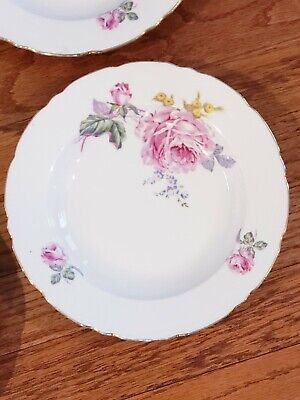 "4 Vintage Bohemian Fine China w/Roses ~ 8 1/2"" Rimmed Soup Bowl ~ Czechoslovakia"