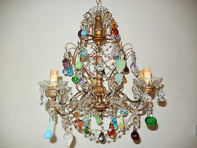 ~c1920 Vintage Murano Fruit Drops Gold Giltwood Crystal Swags Chandelier~