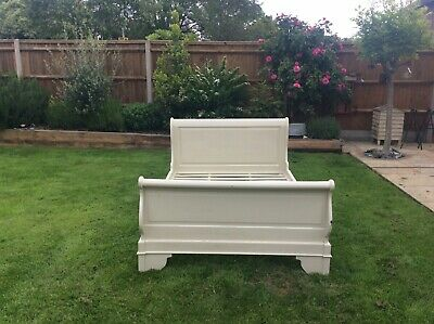 French Sleigh Bed~ Shabby Chic Painted ~Farrow&Ball Shaded White