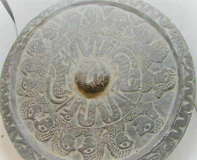 Ancient Sasanian Stone Carved Plate Or Dish With Ram And Snake Motifs Very Rare