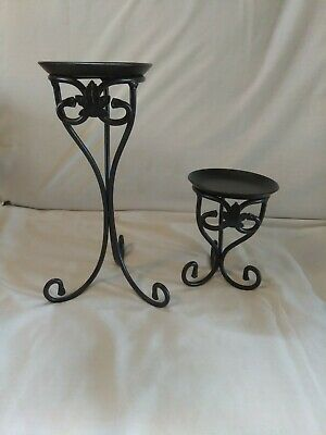 Pair of Longaberger Wrought Iron Pillar Candle Holders