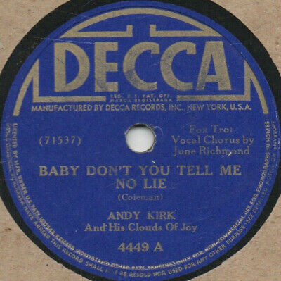 """78er Jazz Swing Andy Kirk a.h. Clouds of Joy """"Baby Don't You Tell Me No Lie"""""""
