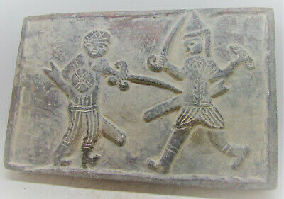 Ancient Sasanian Stone Brick With Battle Depiction Very Rare