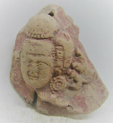 Circa 200Bc-200Ad Ancient Indian Mauryan Terracotta Plaque Fragment Buddha Head