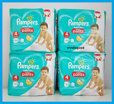LOT DE 108 (4x27) COUCHES-CULOTTES PAMPERS BABY-DRY PANTS TAILLE 4 (9-15 kg)
