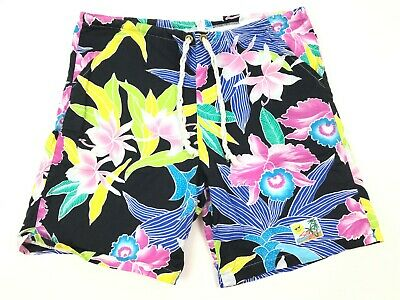 Vtg SUNNY BEACHES Tropical Hawaiian Swim Board Shorts Cotton Drawstring S USA