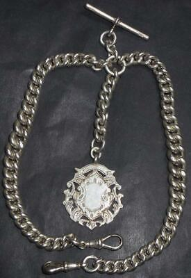 Superb antique Silver double albert graduated watch chain 110g see all images