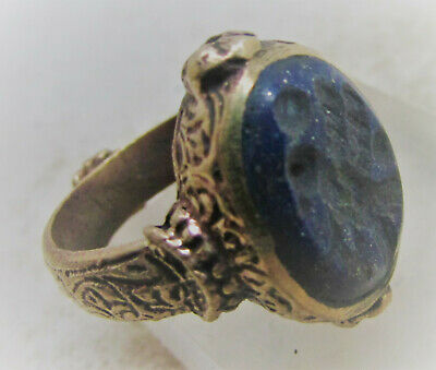 Beautiful Islamic Medieval Gold Gilded Ottoman Ring With Lapis Intaglio