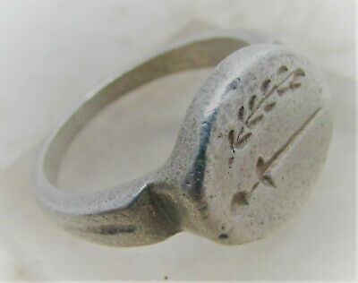Circa 300-400Ad Roman Military Silver Seal Ring Sw0Rd And Wreath Very Rare