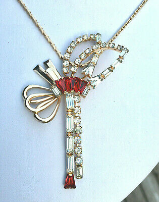 Vintage HI END Art Deco red rhinestone abstract necklace pin 12K GF MINT Phyllis