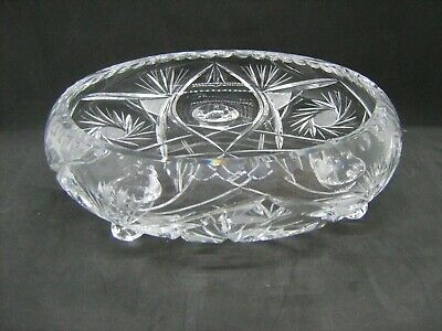 "8"" Heavy quality glass crystal footed fruit bowl"