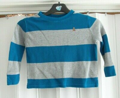 Boys gap grey and blue ribbed jumper size 2 years E02 B