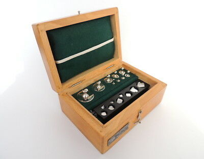 1959 Vintage Antique Soviet Old USSR Brass Scale Weights Wood Box Full Set