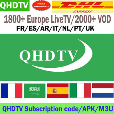 QHDTV 1 Year French Arabic Channels IPTV Subscription For Android TV Box Smart