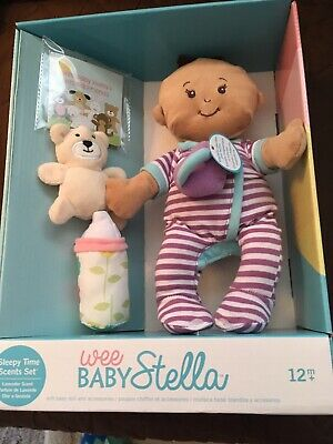 """Wee Baby Stella Sleepy Times Scent 12"""" Soft Doll Set- Brand new in box"""