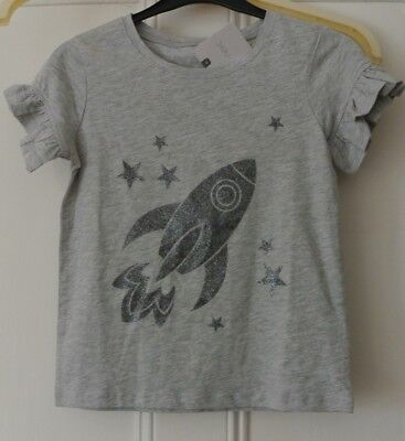 New Next girls cotton rich short sleeve top Grey age 7 years