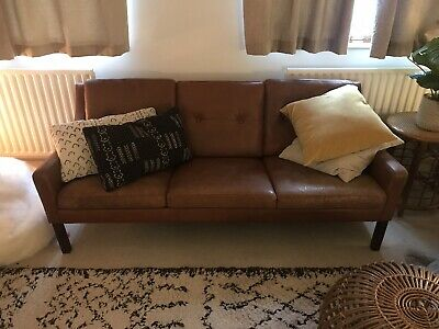 DANISH MID CENTURY VINTAGE TAN COGNAC LEATHER 3 SEATER SOFA 1960,s