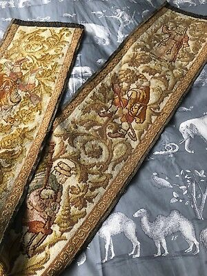 Victorian French Medieval Style Woolwork Hand Embroidered Long Panel Runner