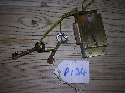 Brass Hobbs & Co. Cabinet Lock & 2 Keys  (P134)