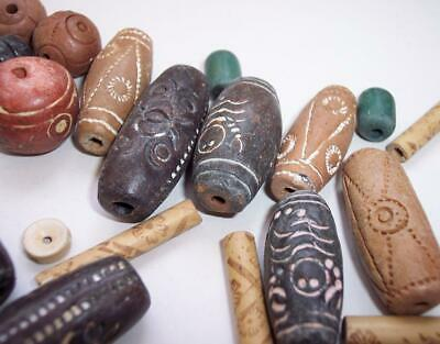 Antique/Vintage JOB LOT Decorated AFRICAN MALI CLAY Trade BEADS 109 Grams Craft