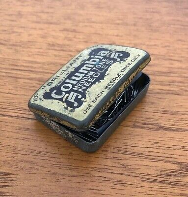 Vintage Columbia Medium Tone Gramophone Needles In Original Tin
