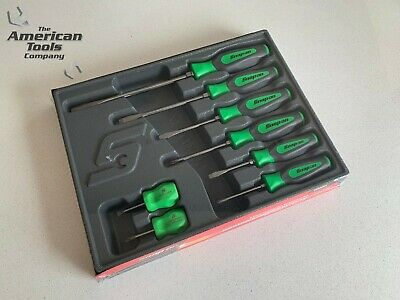 *NEW* Snap On 8-pc Instinct® Hard Grip Combination Green Screwdriver Set SHDX80G