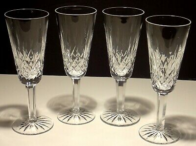 """4 Vintage Waterford Crystal Lismore Continental Champagne Glasses 7 1/4"""" Ireland"""