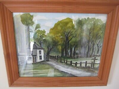 Vintage Alec R Watercolour Framed Painting Brabyns Park