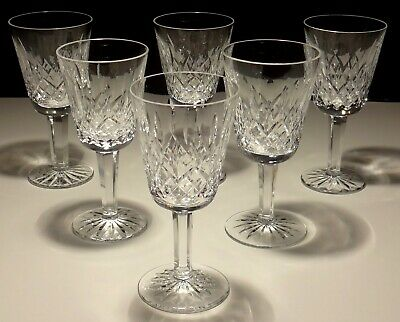 "6 Vintage Waterford Crystal Lismore White Wine Glasses 5 1/2"" ~ Made In Ireland"