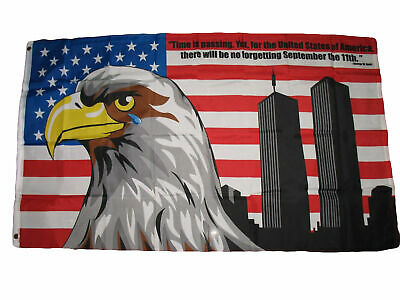 No Forgetting 911 3x5 Polyester Flag Never Forget Eagle Tear Twin Towers