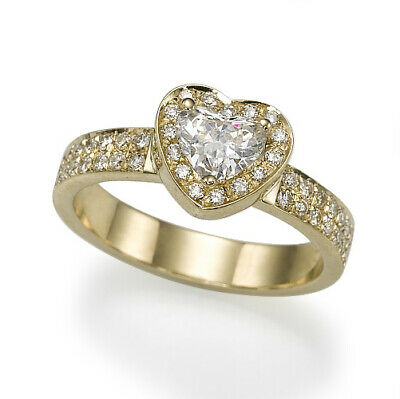 Authentic Natural 1.6 Carat Heart Accented Diamond 18K Yellow Gold Proposal Ring