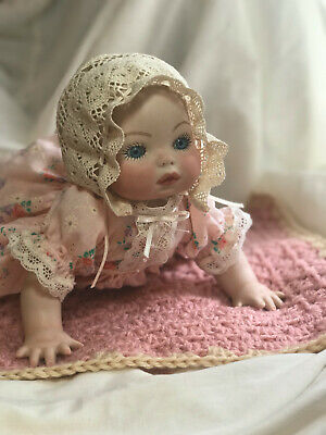 Sweet & Adorable Vintage Crawling Baby Porcelain Doll Children's Charity Auction