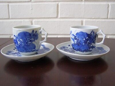 2 antique Japanese Seto porcelain hand painted blue and white cups and saucers