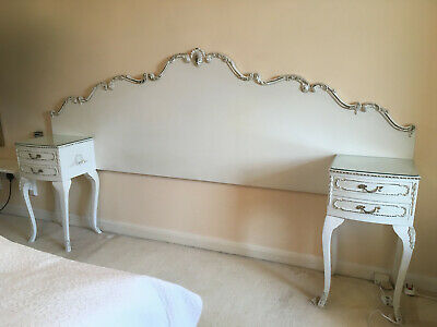 Harrods Olympus Vintage French Style double bed Headboard & Bedside Tables