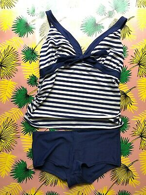 Maternity Swimming Costume/ 2 piece. Size 14 - Mothercare Navy/ White stripe