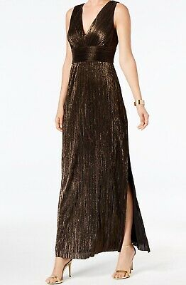 895de88d0472f Jessica Howard NEW Black Gold Women Size 16 Shimmer Textured Maxi Dress  $149 705