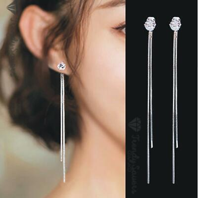 Women 925 Sterling Silver Plated Dangle Hanging  Rhinestone Long Drop Earrings