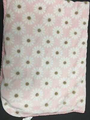 Carters Pink Brown White Daisy Baby Blanket Flowers Minky Sherpa