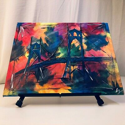 "Original and Very Colorful Abstract Painting of a Bridge, Signed by Artist ""LG"""