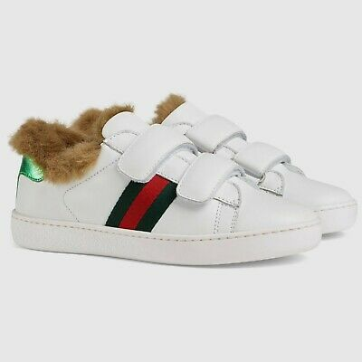 NIB NEW Gucci New Ace kids boys girls faux fur red web sneakers 28 30 31 526162