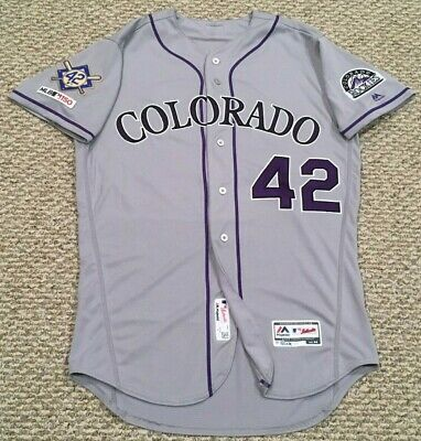 d6388c37f34 JACKIE ROBINSON size 44  42 2019 Colorado Rockies game jersey road gray MLB  HOLO