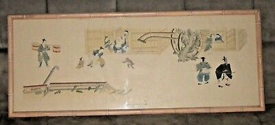 """Japanese Art Print """"Child Frightened by a Monkey"""" Tokugawa Period Legend Framed"""