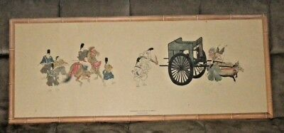 """Japanese Art Print """"Procession Attached by a Demon"""" Tokugawa Period Legend Frame"""