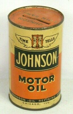 Johnson Motor oil Bank Oil Refining Co. Can Chicago