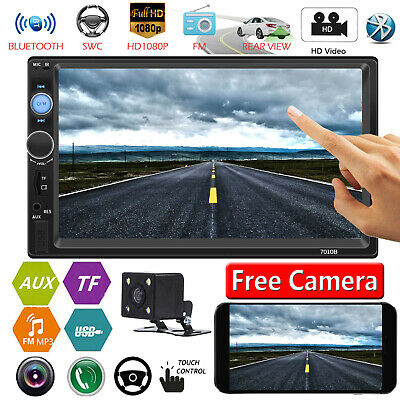"""2Din 7"""" Car FM MP5 Player Touch Screen Stereo Radio Bluetooth AUX/USB/TF+Camera"""