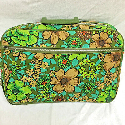 Vintage Flower Power Overnight Travel Bag Carry On Suitcase Green Floral 1960-70