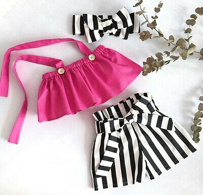 AU Stock Toddler Infant Baby Girl Kid T-shirt Blouse+Short Pants Outfit Clothes