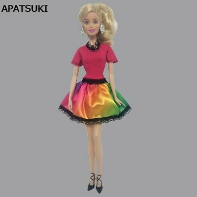 Red Colorful Doll Dress For 11.5in Dolls One Piece Dress Clothes For 1/6 Doll
